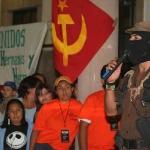 El Subcomandante Insurgente Marcos, Delegado Zero para La Otra Campana del EZLN durante discurso en reunion con adherentes en la Preparatoria numero 1 de la Universidad Michoacana de San Nicolas de Hidalgo. en la capital Michoacana. Foto: Moysés Zúñiga Santiago.