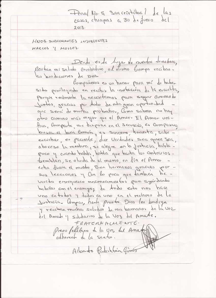 Respuesta de Alberto Patishtán Gómez a invitación a la escuelita zapatista