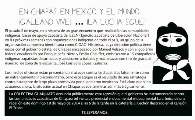Acciones de protesta contra las agresiones del gobierno contra los zapatistas