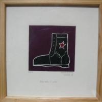 grabado bota zapatista
